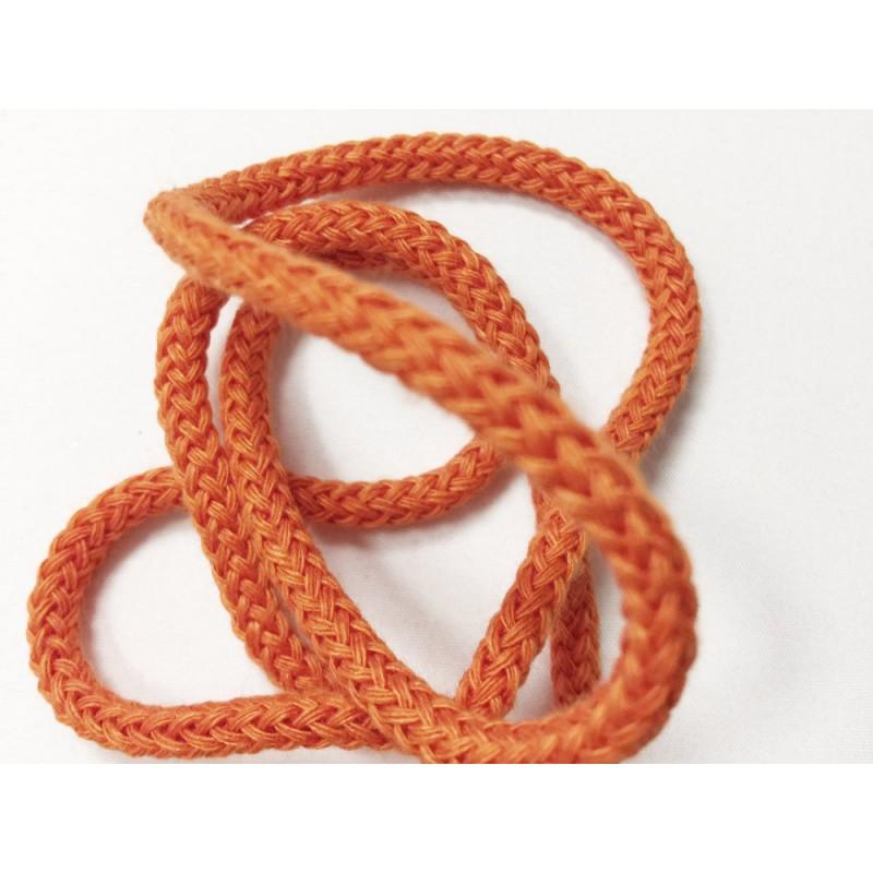 Cordon tressé 4 mm orange au mètre
