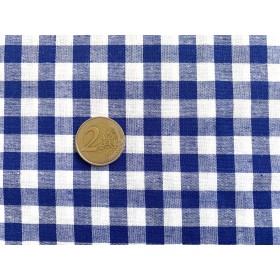 tissu vichy - carreaux 10 mm bleu