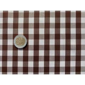 tissu vichy - carreaux 10 mm marron