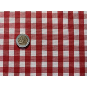 tissu vichy - carreaux 10 mm rouge